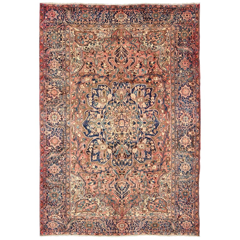 Royal Border Oriental Rug By Rug Culture: Semi Antique Persian Heriz Rug With Geometric Medallion In