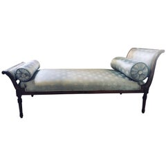 Fine Louis XVI Style Chaise Longue in Celeste Blue Upholstery