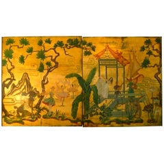 Hollywood Regency Chinoiserie Door Panel Wall Hanging Art