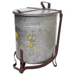 Vintage Industrial Galvanized Steel Waste Basket Trash Can Bin, Justrite Chicago