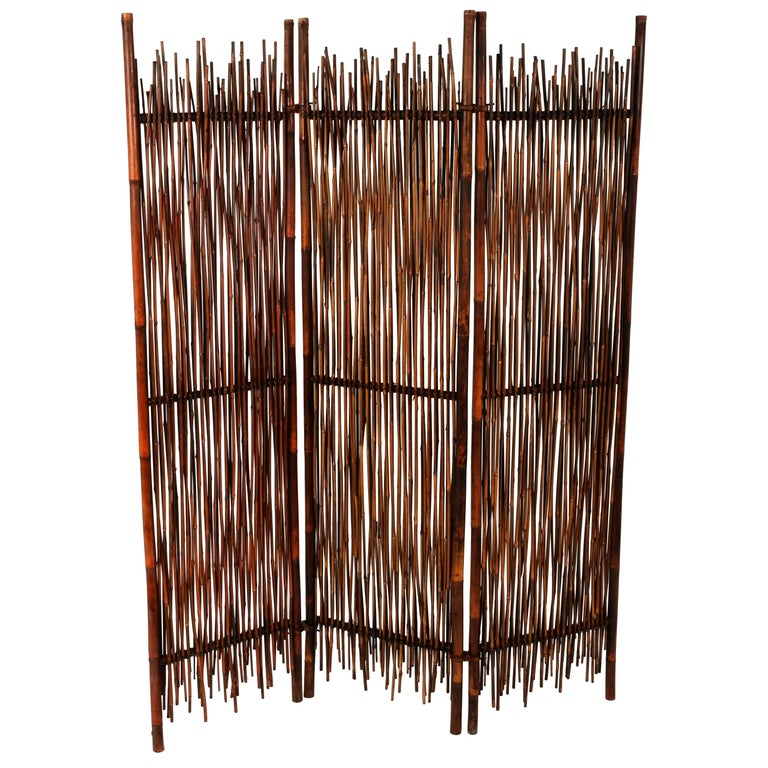 Rattan Room Divider Screen, Partition, Italy, 1900s