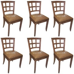 Set of Six French 1940s Lattice-Back Cerused Oak Dining Chairs