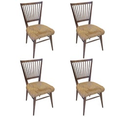 Set of Four Unusual Italian Cerused-Oak Chairs with Rushed Seats