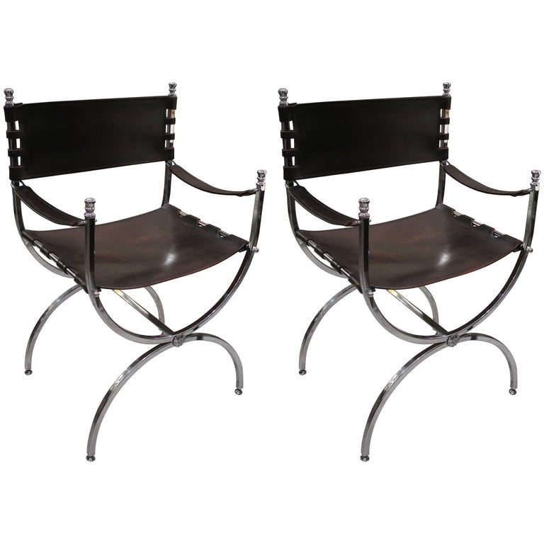 Pair of Chrome and Leather Directors Chairs Attributed to Maison Jansen