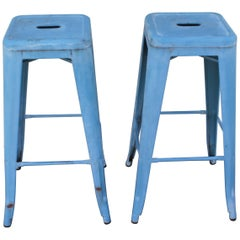 Blue Painted Metal Industrial Stools, Pair