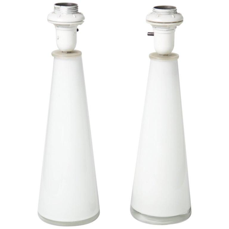 White Pair of Swedish Orrefors Glass Lamps, Sweden 1960s