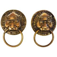 Pair of Brass Door Knockers, Warrior Motif