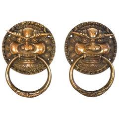 Pair of Large Brass Door Knockers, Dragon King