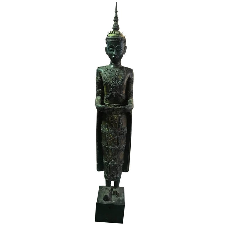 Large Carved Wood, Lacquer and Gilt Standing Thai/ Laotian Buddha on Base For Sale