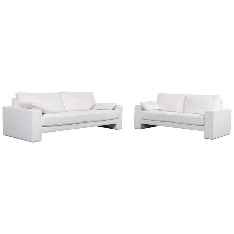 Rolf Benz Ego Leather Sofa-Set White Three- and Two-Seat