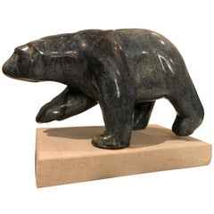 Sea Green Blue Ceramic Glazed Polar Bear Figural Statue by M. Richards