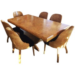 Art Deco European Birch Dining Suite Table and Chairs