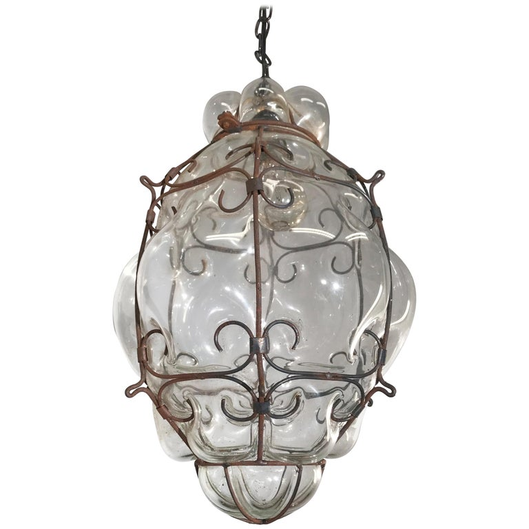 Mid-Century Large Venetian Mouth Blown Glass in Metal Frame Pendant Light