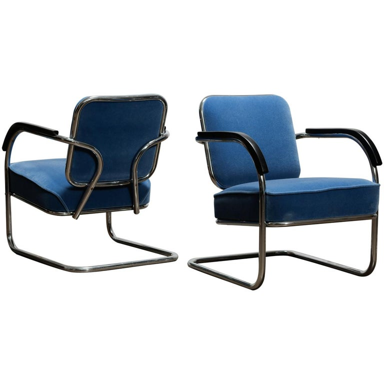 A Pair of Midcentury Cantilever Tubular Steel Armchairs with Mohair Upholstery