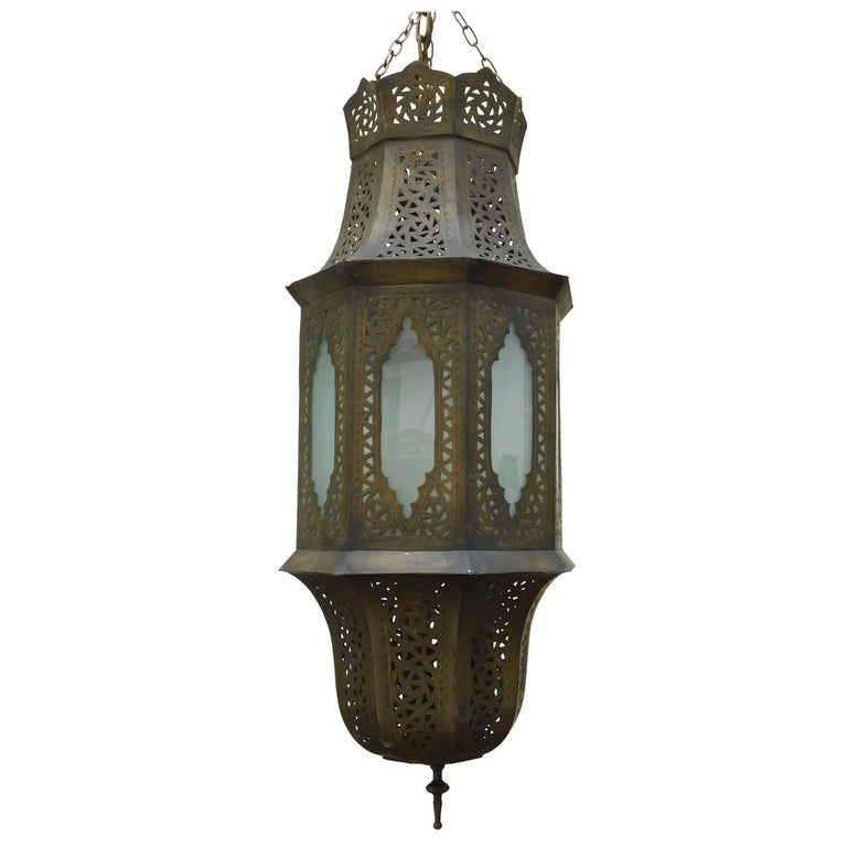 Vintage Moroccan Moorish Brass Lantern from Fez