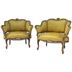 Pair of Rocaille Style Natural Walnut Bergère, Gilt Highlights, circa 1880
