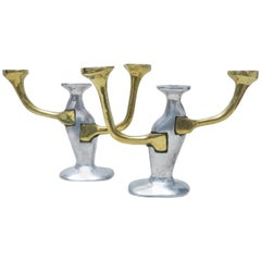 Pair of Brutalist Candelabra by David Marshall