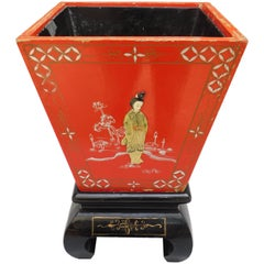 Vintage Red Chinoiserie Planter / Wine Cooler on Stand