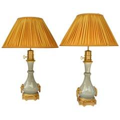Pair of Cracked Beige Celadon Porcelain Lamps, Gagneau Mount, circa 1880