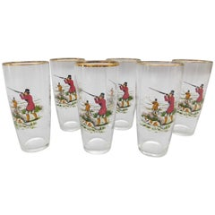 Set of Six 1950s English Glasses with Bird Hunting/Shooting Scene Theme