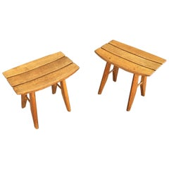 Guillerme & Chambron, Pair of Solid Oak Stools, Edition Votre Maison, 1960