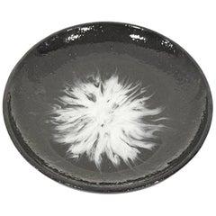 Contemporary Black Resin Round Decorative Platter