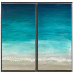 "Contemporary Abstract Resin Painting on Canvas ""Sea Breeze"""