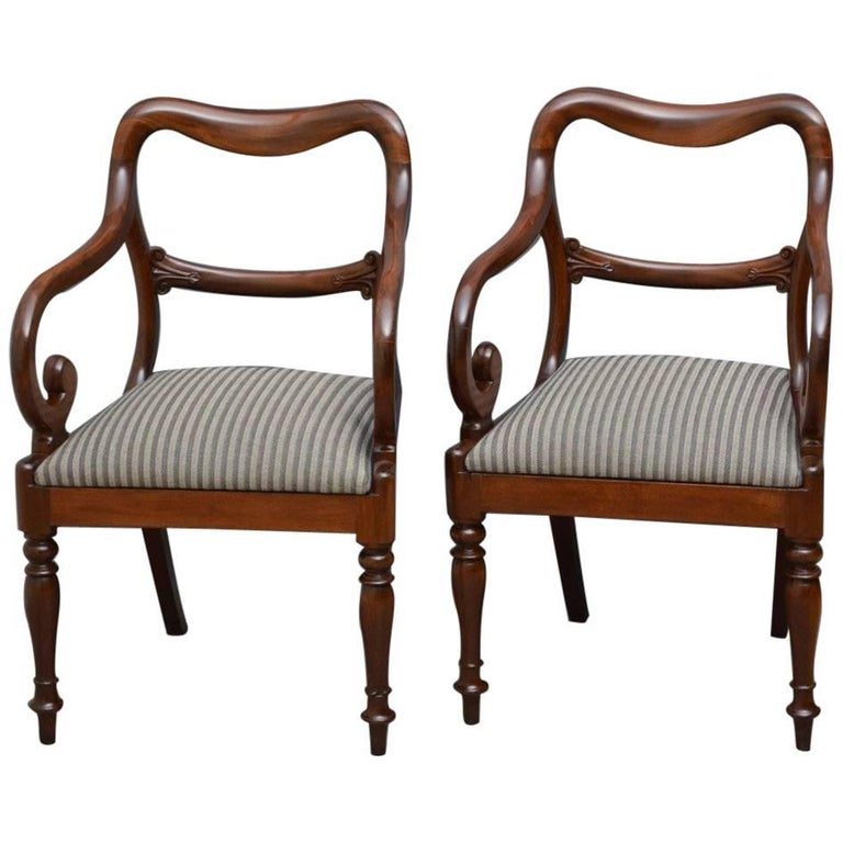 Pair of Early Victorian Mahogany Balloonback Carver Chairs