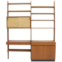 Dieter Waeckerlin Shelf System Wall Unit in Teak Wood, Behr Germany, 1950s