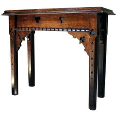 Mid-Victorian Gothic Revival Oak Side Table, circa 1870