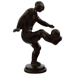 Rare Just Andersen, Figure of Patinated Discometal, a Football Player