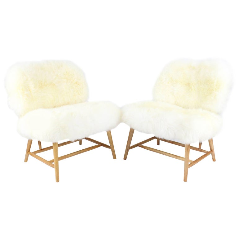 Pair of Swedish Sheep Skin and Beech Teve Easy Chairs by Alf Svensson for DUX