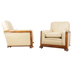 Pair of Art Deco Armchairs in Burr Walnut