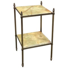 Midcentury Gilded Brass Neoclassical End Table with Two Tiers Onyx Top