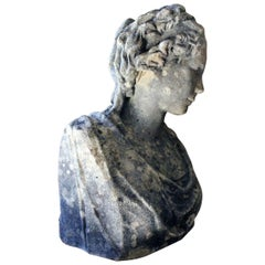 Victorian Period Weathered Stone Bust of a Classical Female, circa 1880