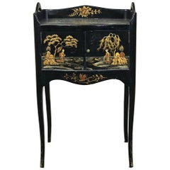 19th Century French Japanned Black Hand-Painted Lacquer Nightstand, End Table