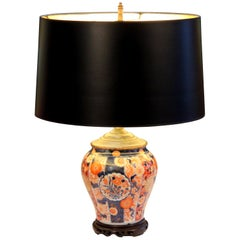 Antique Japanese Fukagawa Imari Porcelain Signed Vase Lamp
