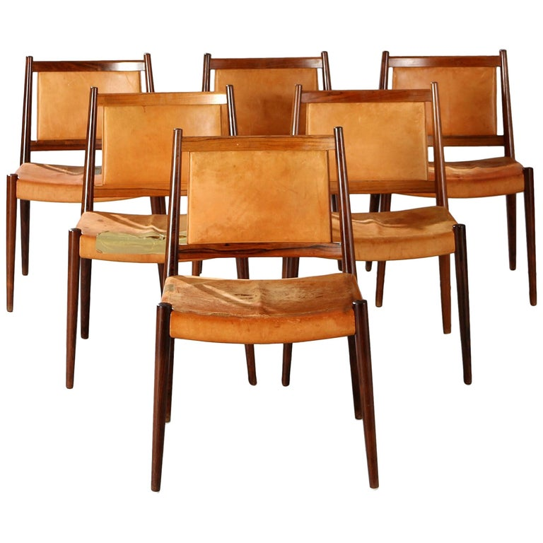 Set of Six Steffen Syrach Larsen Rosewood Dining Chairs, Denmark, circa 1965
