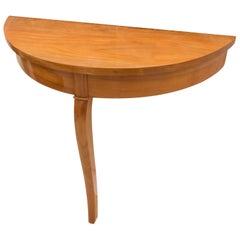 19th Century Biedermeier Cherry Half Centre One-Leg Table
