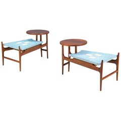 Rare Harvey Probber Blue Terrazo Floating-Top Side Tables
