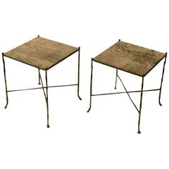 Pair of French 1950s Side Tables Faux Bamboo in the Style of Maison Baguès