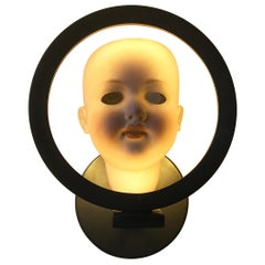 "Antique Doll-Head Wall Light ""HeadLight"" Illuminated Objet d'art"