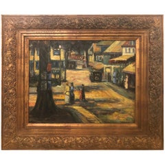 Oil on Canvas Impressionistic Street Scene in a Gilt Frame Signed Monica