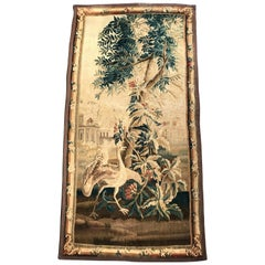 Long and Narrow 18th Century French Verdure Aubusson Tapestry with Ostrich