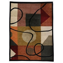 Vintage Mid-Century Modern Style Rug, Abstract Area Rug