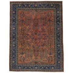 Antique Turkish Sparta Area Rug with Cypress and Weeping Willow Trees