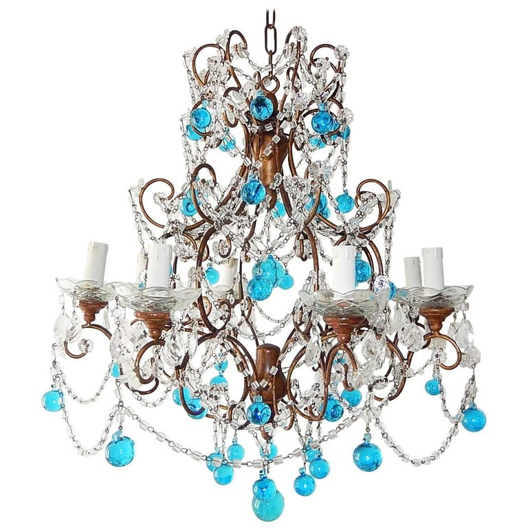 French Blue Murano Balls Beaded Swags Chandelier, circa 1900