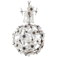 French Clear Flower Ball Crystal Prisms Maison Baguès Style Chandelier