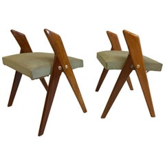 Pair of Italian Mid-Century Modern Benches or Stools, Osvaldo Borsani Attributed