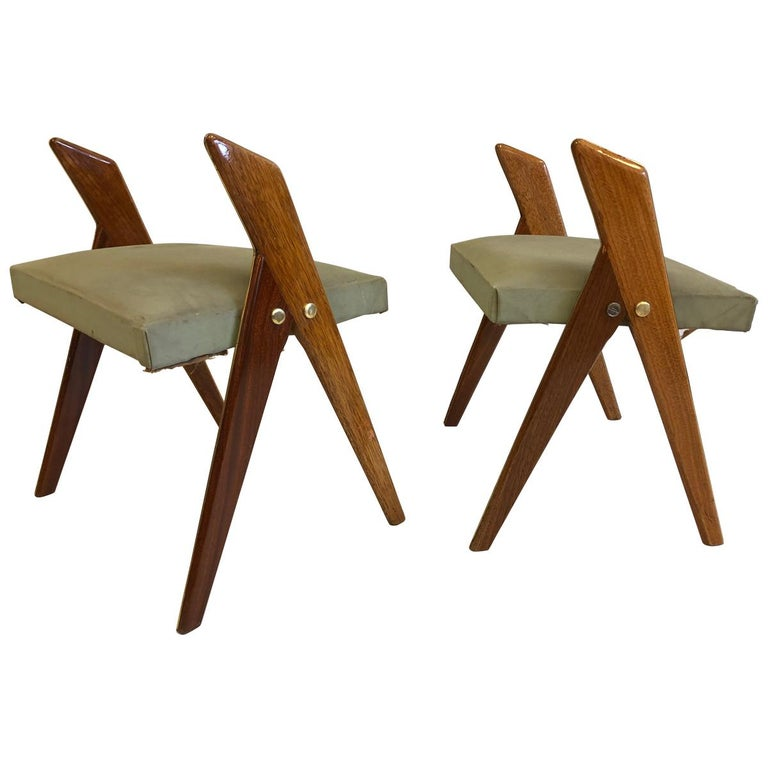 Pair of Italian Mid-Century Modern Benches or Stools, Osvaldo Borsani Attributed For Sale